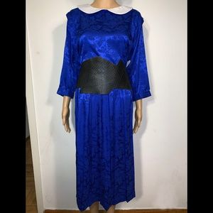 Original vintage inspired satin printed blue dress